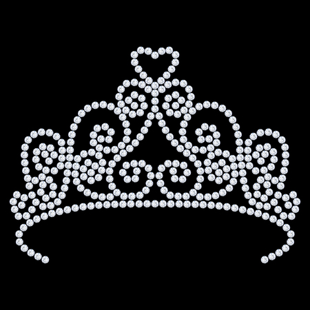 3D illustration diamond crown tiara with glittering precious stones  on a black background