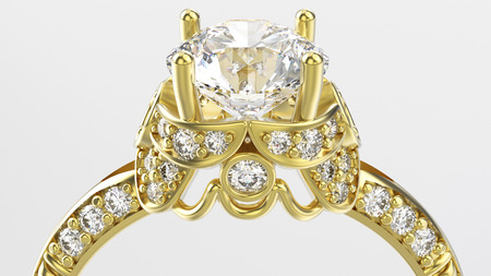 3D illustration zoom macro gold ring with diamonds on a white background