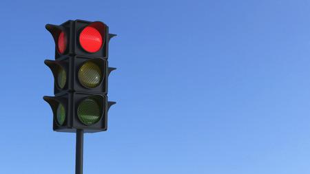 city lights: 3D illustration red traffic light on a blue city sky