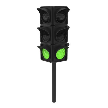 city lights: 3D illustration green traffic light on a white background Stock Photo
