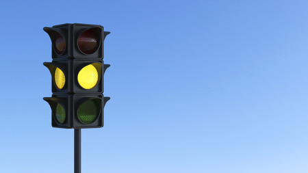 city lights: 3D illustration yellow traffic light on a blue city sky Stock Photo