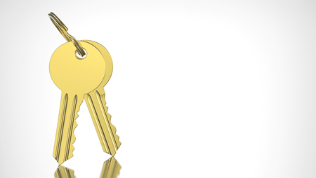 lock symbol: 3D illustration gold and key with keychain on a grey background