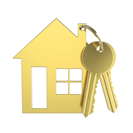 3D illustratie gouden sleutel met sleutelhanger in de vorm van een klein huis op een witte achtergrond