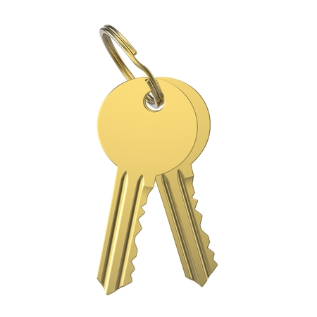 lock symbol: 3D illustration gold key with keychain on a white background