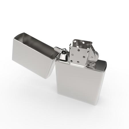 3D illustration silver cigarette lighter on a white background