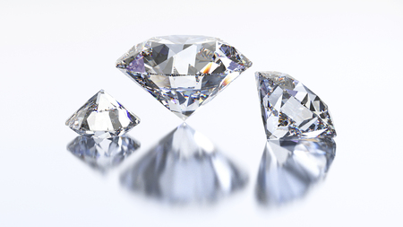 gemstone: 3D illustration three diamond stone on a white background