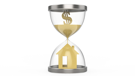 residential construction: 3D illustration hourglass dollar money and house on a white background Stock Photo