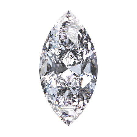 3D illustration marquise diamond stone on a white background
