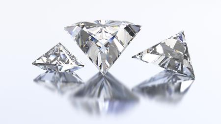 3D illustration three triangle diamond stone on a white blue background