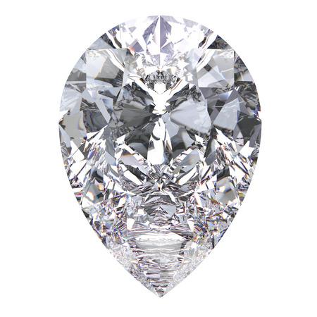 3D illustration pear diamond stone on a white background
