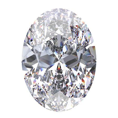 3D illustration oval diamond stone on a white background