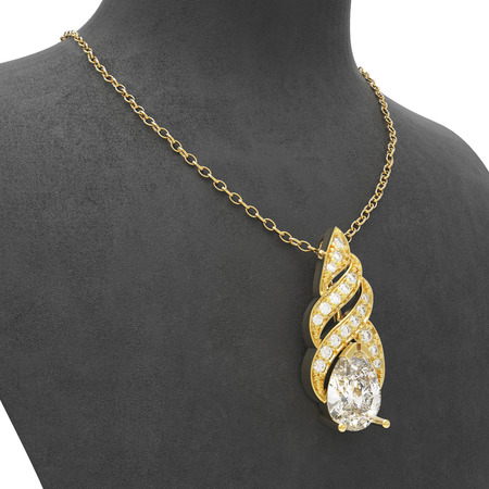 diamond stones: 3D illustration gold necklace with diamonds on a black mannequin on a white background