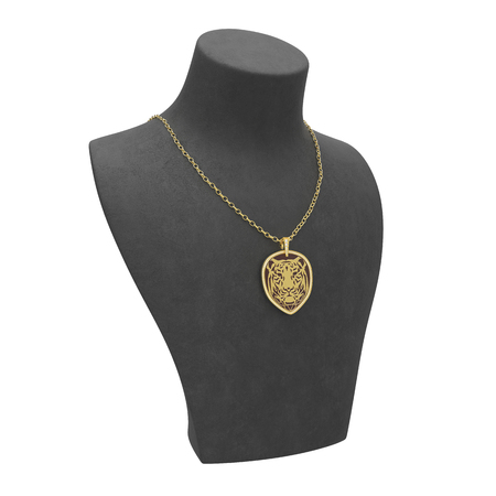 diamond stones: 3D illustration gold necklace tiger with diamonds on a black mannequin on a white background