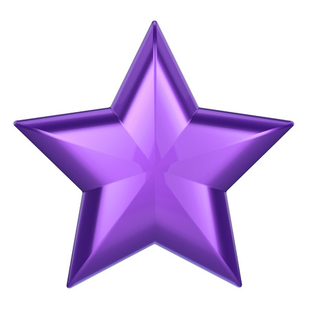 3D illustration purple star on a white background