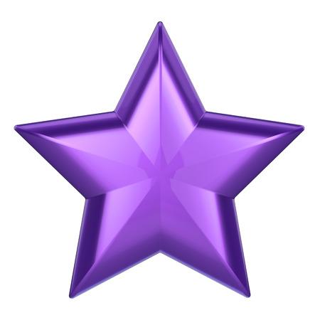 3D illustration purple star on a white background