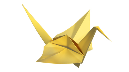3D illustration gold origami bird on a white background
