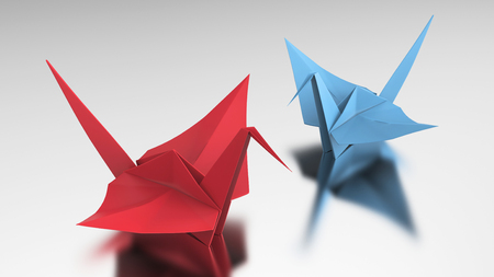 3D illustration two red and blue origami bird on a grey background