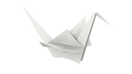 3D illustration white paper origami bird on a white background