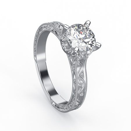 gemstone: 3D illustration silver ring with diamonds and  ornament on a white background