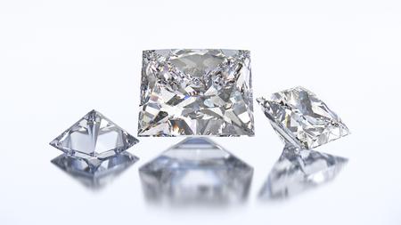3D illustration three princes diamond stone on a white blue background Stock Photo