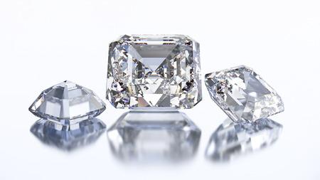asscher: 3D illustration three asscher diamond stone on a white blue background