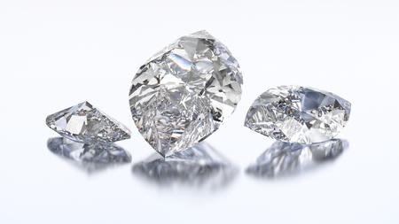 3D illustration three marquise diamond stone on a white blue background Stock Photo