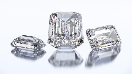 3D illustration three emerald diamond stone on a white blue background Stock Photo