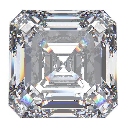 3D illustration asscher diamond stone on a white background Stock Photo