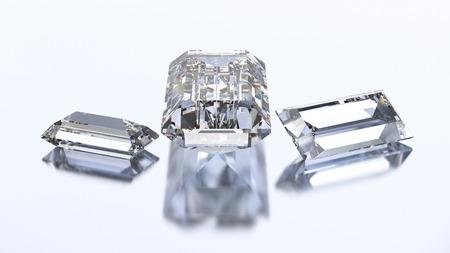 3D illustration three baguette diamond stone on a white blue background