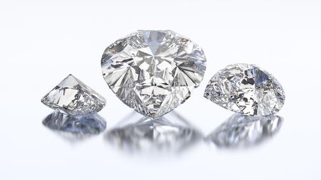 3D illustration three pear diamond stone on a white blue background
