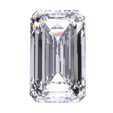 gemstone: 3D illustration emerald diamond stone on a white background