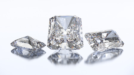 3D illustration three radiant diamond stone on a white blue background Stock Photo