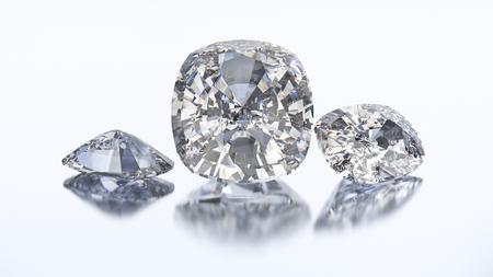 diamond stones: 3D illustration three cushion diamond stone on a white blue background