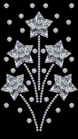 黒の背景に 3 D 図ダイヤモンド星花火敬礼飾り