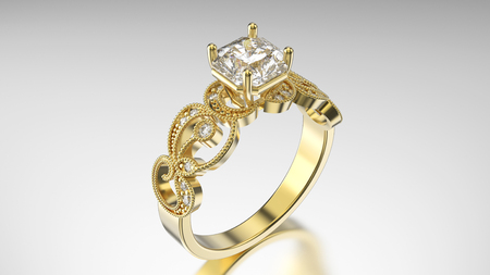 caras emociones: 3D illustration gold ring with diamonds and  ornament on a grey background