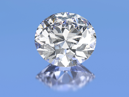 3D illustration ova diamond stone on a blue background