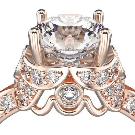 3D illustration isolated zoom macro rose gold ring with diamonds on a white background
