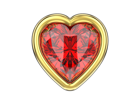 ruby: 3D illustration isolated ruby diamond heart in gold frame on a white background
