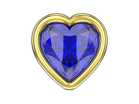 gemstone: 3D illustration isolated blue sapphire diamond heart in gold frame on a white background