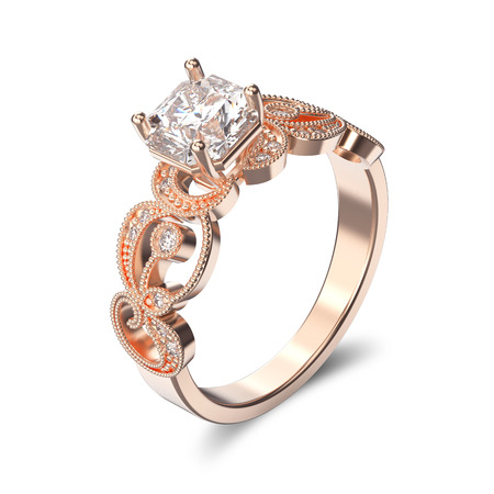 gemstone: 3D illustration rose gold ring with diamonds and  ornament on a white background