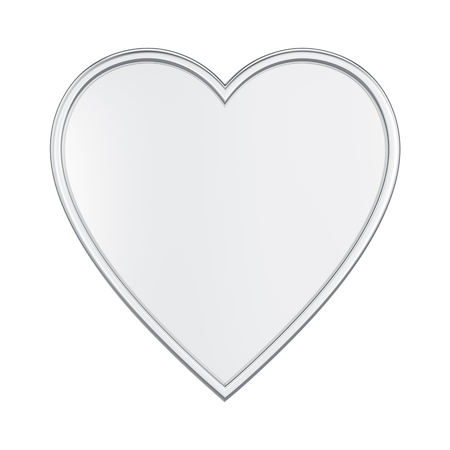3d mode: 3D illustration isolated silver heart on a white background Stock Photo