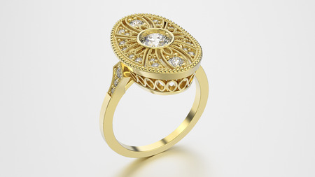 3D illustration gold ethnic ring with diamonds and ornament on a grey background