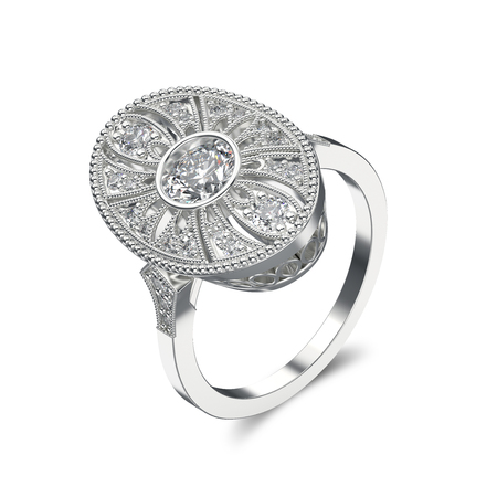 gemstone: 3D illustration silver ethnic ring with diamonds and ornament on a white background Stock Photo