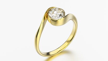 3D illustration gold ring bypass with diamond on a grey background