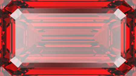3D illustration crop red ruby diamond texture macro zoom