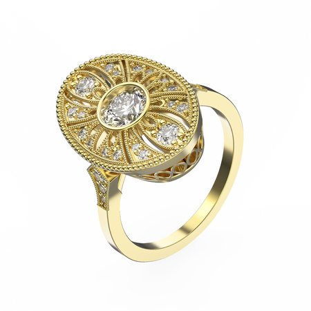 expensive: 3D illustration rose gold ethnic ring with diamonds and ornament on a white background