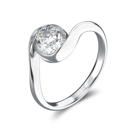 gemstone: 3D illustration silver ring bypass with diamond on a white background Stock Photo