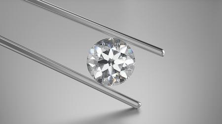 灰色の背景にピンセットで 3 D イラストレーション クローズ アップ ダイヤモンド 写真素材
