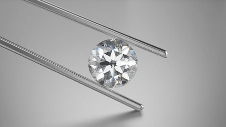 3D illustration closeup diamond in tweezers on a grey background