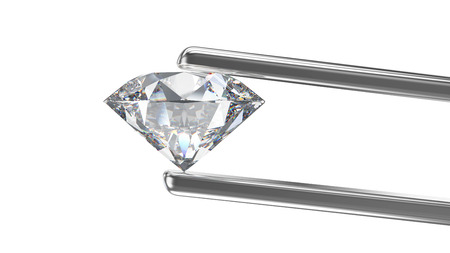 3D illustration isolated profile  round white diamond in silver tweezers on a white background